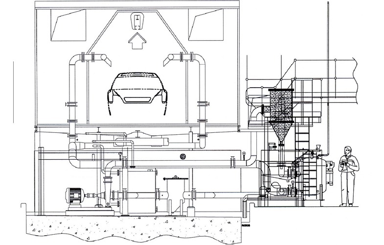 Schematic showing 40-way one inch Hydrocyclone vessel in a typical automobile pre-treatment plant